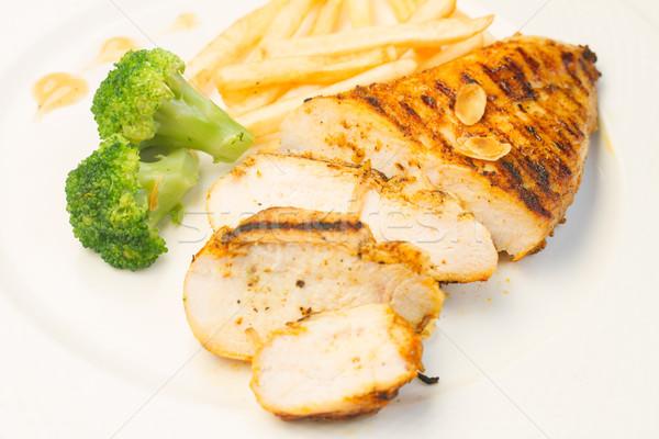 Frango grelhado brócolis comida fundo Foto stock © neirfy