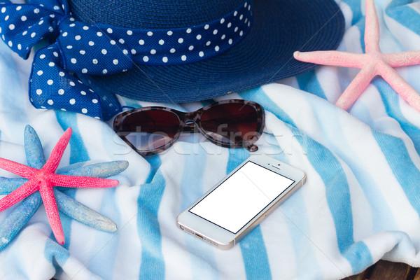 пляжное полотенце ракушки кадр лет Starfish Солнцезащитные очки Сток-фото © neirfy
