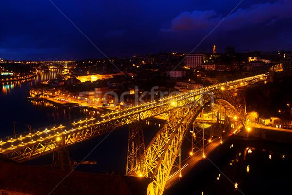 Eski gece Portekiz köprü su binalar Stok fotoğraf © neirfy