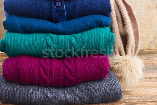 Zestaw wełniany ubrania fałdowy szary Zdjęcia stock © neirfy