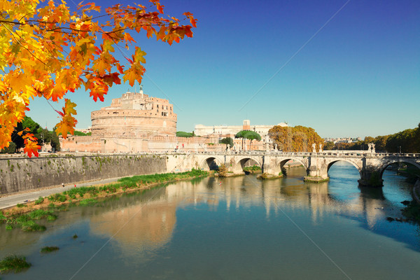 Château Rome Italie célèbre saint pont Photo stock © neirfy