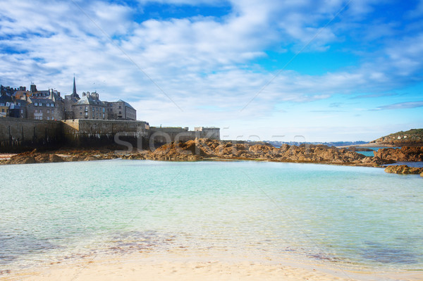 Saint-Malo old city over tidal waters ,  France Stock photo © neirfy