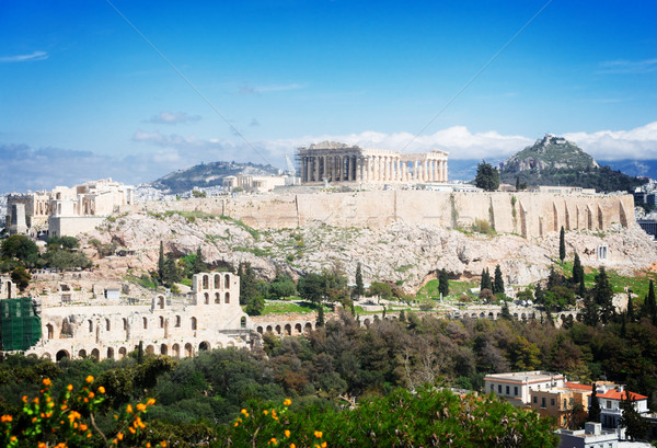 Beroemd skyline heuvel amfitheater retro hemel Stockfoto © neirfy