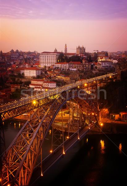 Vecchio tramonto Portogallo ponte retro cielo Foto d'archivio © neirfy
