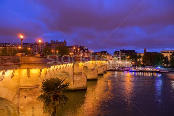 Párizs Franciaország sziget folyó éjszaka égbolt Stock fotó © neirfy