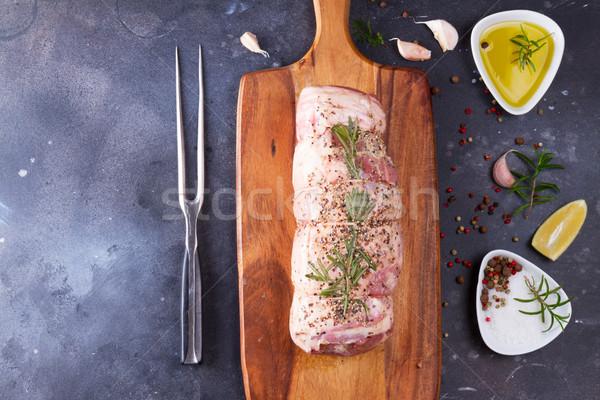 Ruw lam rollen specerijen donkere exemplaar ruimte Stockfoto © neirfy