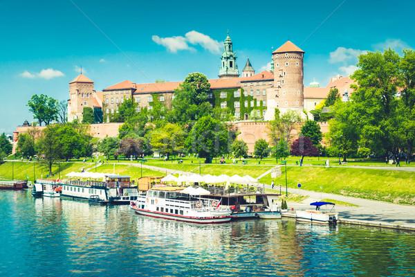 Hill Polska zamek statków rzeki Zdjęcia stock © neirfy