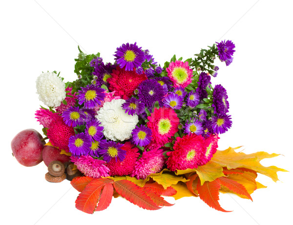 bouquet of aster flowers and leaves Stock photo © neirfy