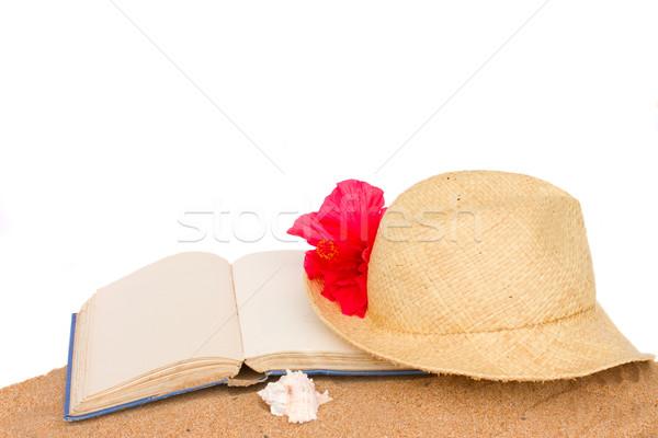 Zdjęcia stock: Słomkowy · kapelusz · książki · piasku · odizolowany · biały · morza
