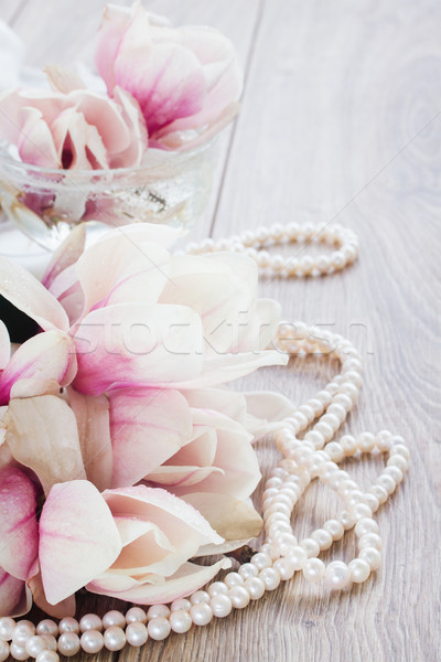 магнолия цветы свежие розовый жемчуга деревянный стол Сток-фото © neirfy