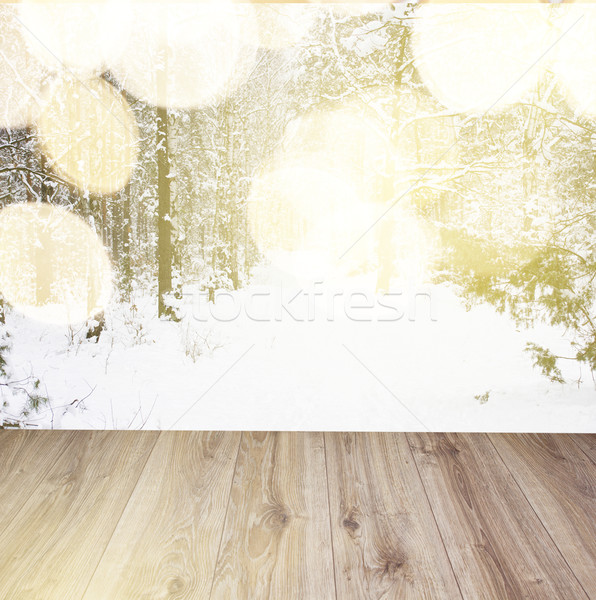 wooden planks with winter forest background Stock photo © neirfy