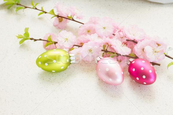 Cereza flores huevos de Pascua ramita flor naturaleza Foto stock © neirfy