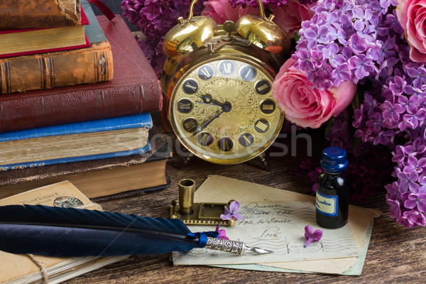 Stock fotó: Antik · óra · köteg · posta · ébresztőóra · kék