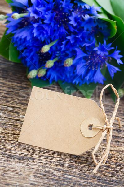 синий пусто бумаги тег свежие деревянный стол Сток-фото © neirfy