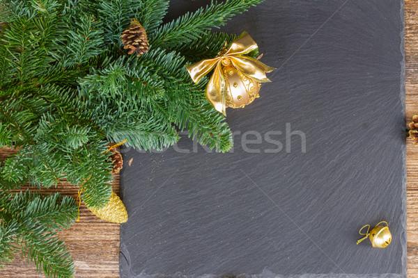 Evergreen boom gouden bal christmas Stockfoto © neirfy