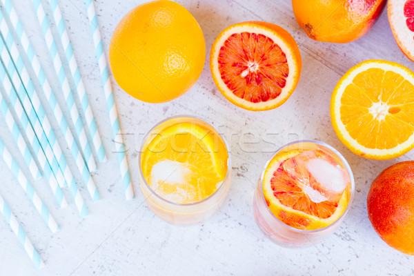 夏 柑橘類 ドリンク 氷 白 ストックフォト © neirfy