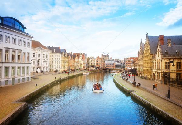 Histórico porto cena dia Bélgica retro Foto stock © neirfy
