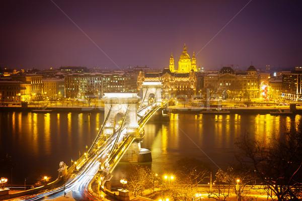 Chaîne pont Skyline ravageur Budapest nuit Photo stock © neirfy