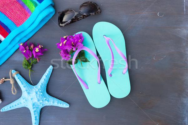 夏 ビーチ 楽しい サンダル サングラス 花 ストックフォト © neirfy