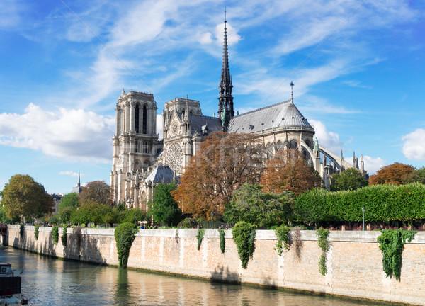 Cattedrale di Notre Dame Parigi Francia fiume cielo costruzione Foto d'archivio © neirfy