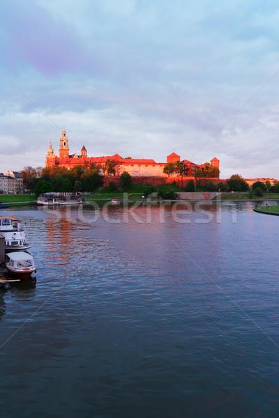 Hill cracovia Polonia castello rosa luce Foto d'archivio © neirfy