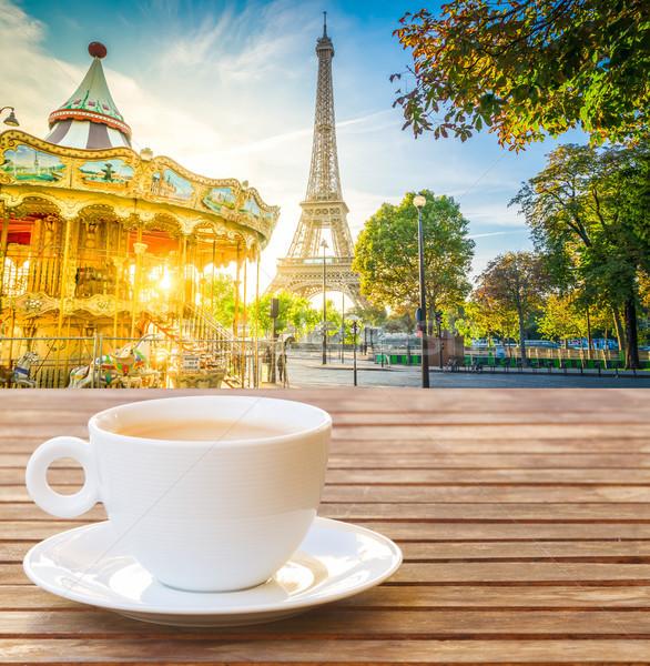 Eiffel turné Párizs csésze kávé kilátás Stock fotó © neirfy