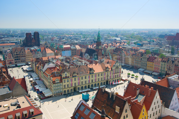 old town square with city hall, Wroclaw Stock photo © neirfy