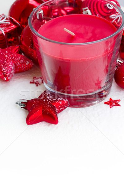 Stockfoto: Christmas · kaars · Rood · decoraties · sneeuw · witte