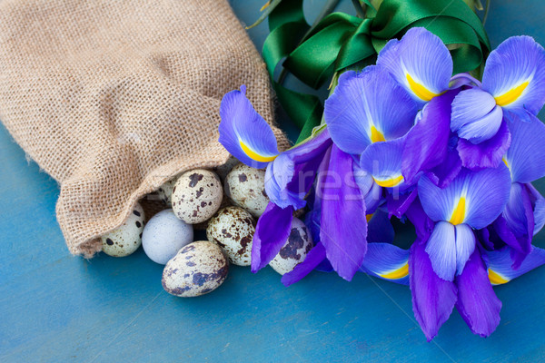 quail eggs in sack and irises Stock photo © neirfy