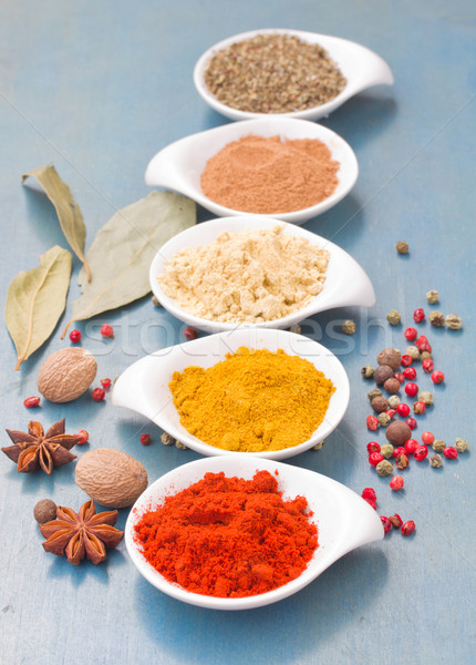 colorful plates spices on blue  table Stock photo © neirfy