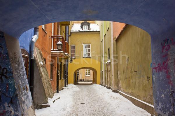 冬 ワルシャワ ポーランド カラフル 旧市街 通り ストックフォト © neirfy