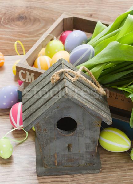 Gaiola colorido ovos de páscoa mesa de madeira páscoa ovo Foto stock © neirfy
