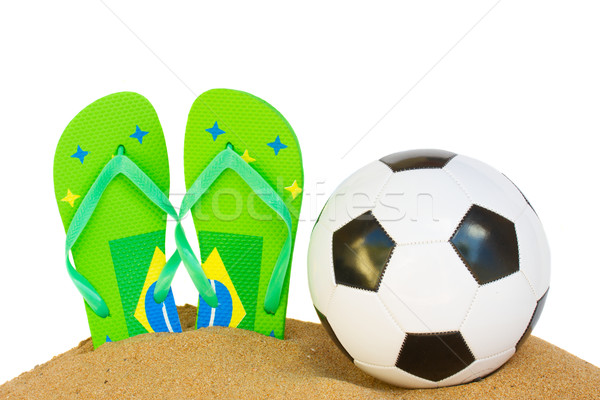 soccer ball in sand Stock photo © neirfy