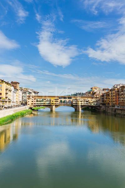 Floransa İtalya ünlü köprü nehir yaz Stok fotoğraf © neirfy