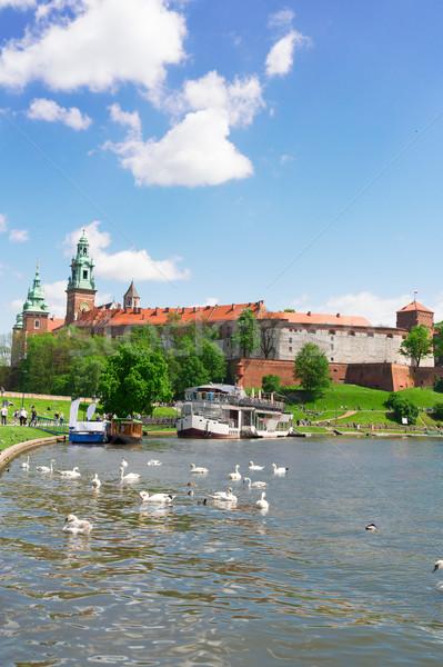 Domb Krakkó Lengyelország kastély folyó nyár Stock fotó © neirfy