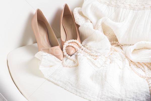 Női kellékek fehér ruházat ékszerek bőr Stock fotó © neirfy