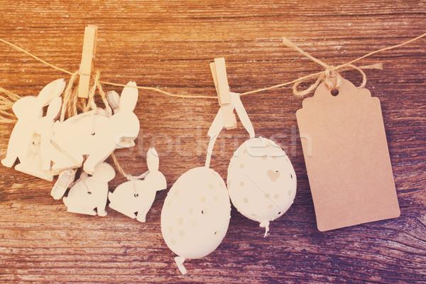 Opknoping paaseieren konijnen witte lege papier Stockfoto © neirfy