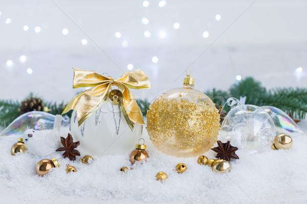 Stok fotoğraf: Beyaz · Noel · kar · sahne · altın · süslemeleri