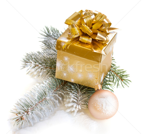 golden gift box with fir tree Stock photo © neirfy