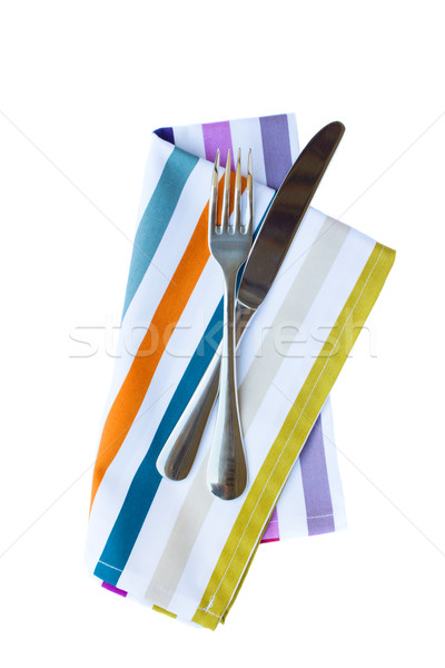 knife and fork on napkin Stock photo © neirfy
