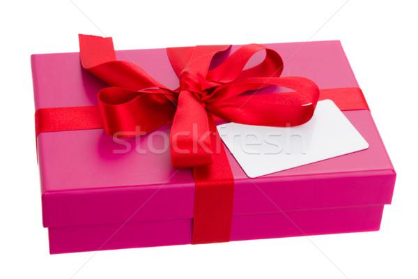 Hediye kutusu boş kart pembe yalıtılmış doğum günü arka plan Stok fotoğraf © neirfy