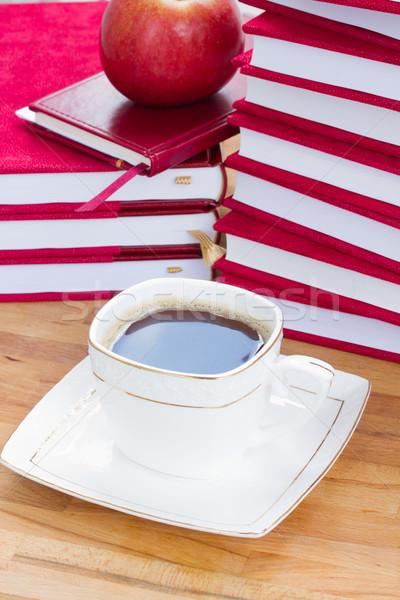 Кубок черный кофе таблице книгах библиотека Сток-фото © neirfy