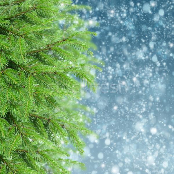 śniegu christmas niebo drzewo świetle Zdjęcia stock © neirfy