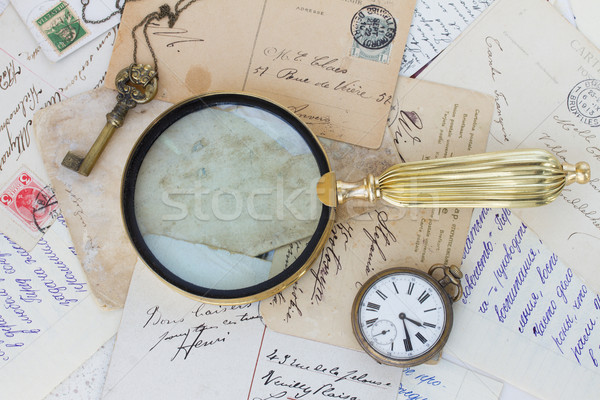 old mail  with  old finding glass Stock photo © neirfy