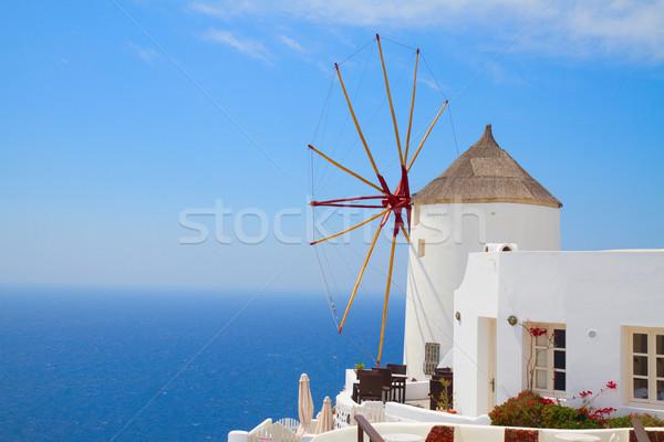 Moinho de vento santorini céu água Foto stock © neirfy