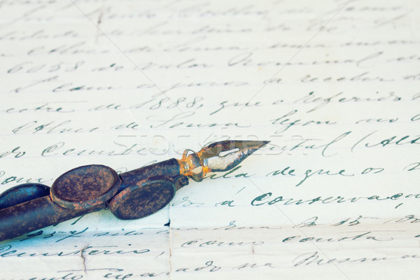vintage quill pen and antique letter Stock photo © neirfy