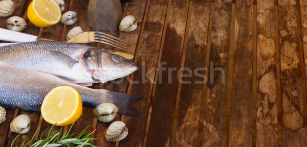 2 生 魚 貝 スパイス コピースペース ストックフォト © neirfy
