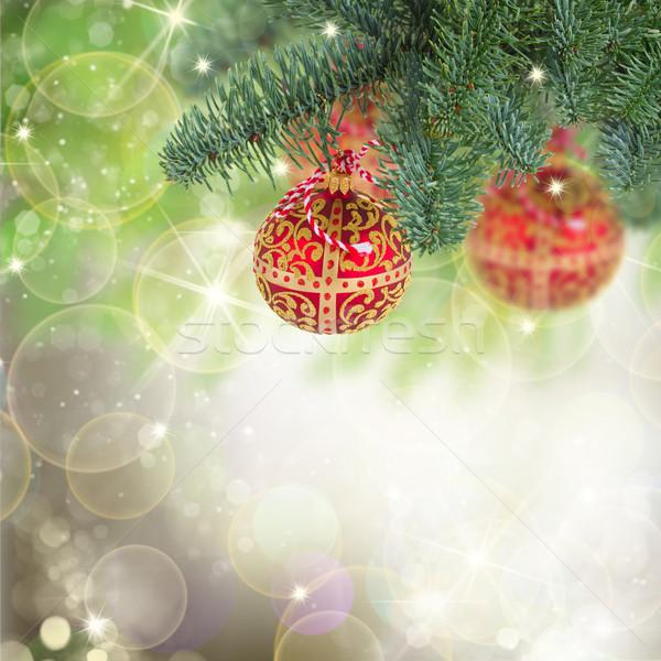 Natale palla impiccagione evergreen albero rosso Foto d'archivio © neirfy