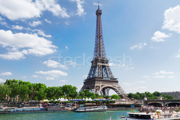 Eiffel tur nehir yaz gün Paris Stok fotoğraf © neirfy