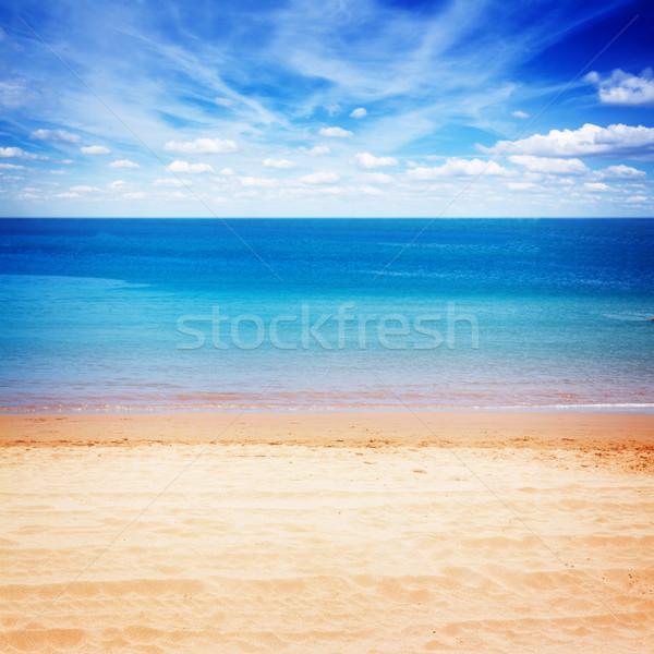 Tenger part kék ég homokos tengerpart kék felhős Stock fotó © neirfy